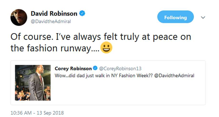"David Robinson: ""Of course. I've always felt truly at peace on the fashion runway"" Photo: Twitter Screengrab"