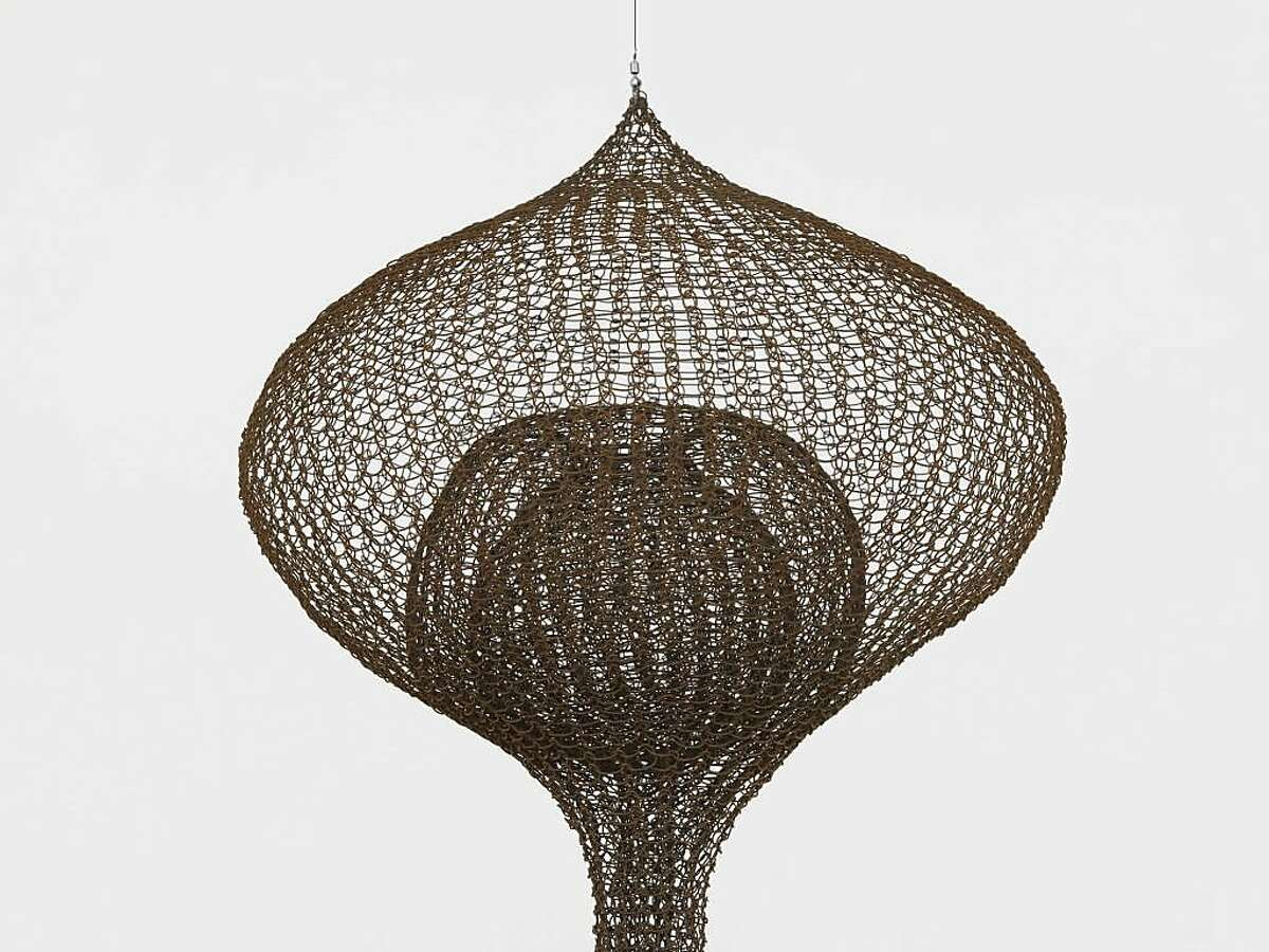 """Ruth Asawa's 1957-1959 """"Untitled,"""" hanging three-lobed, three-layered continuous form within a form"""