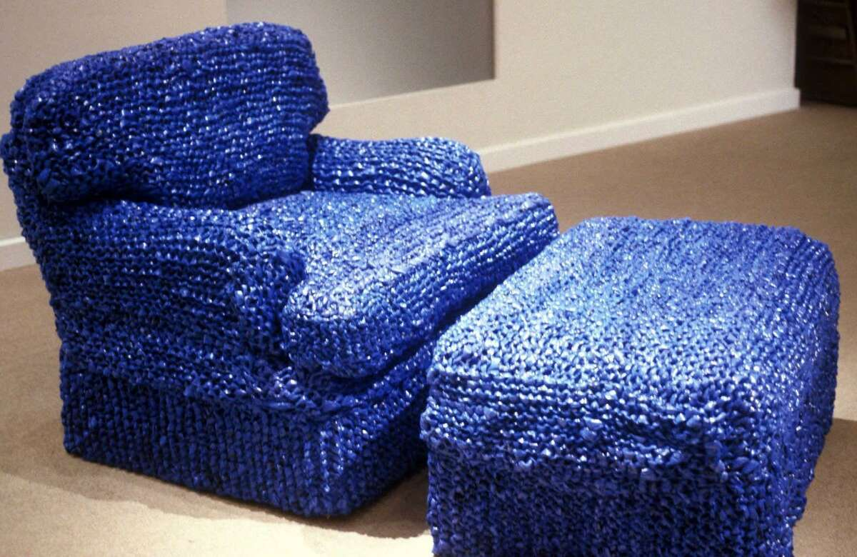 Artist Sarah Hollis-Perry created knit slip covers from three years of New York Times bags.
