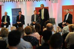 From left; Republican candidates for governor Mark Boughton, Tim Herbst, Steve Obsitnik, Bob Stefanowski, and David Stemerman face off in a Hearst Connecticut Media sponsored debate at Sacred Heart University in Fairfield, Conn. on Tuesday, July 24, 2018.