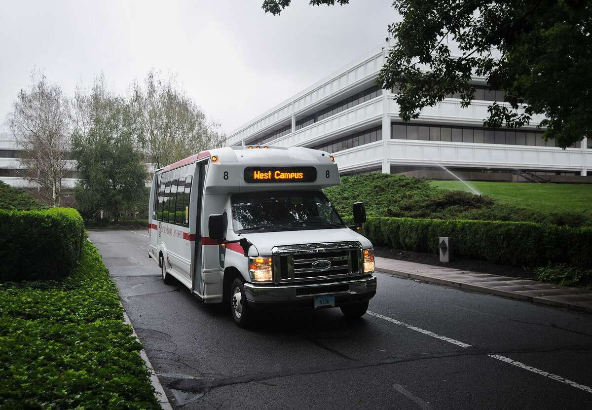 A shuttle on Sacred Heart University's new West Campus, the former GE headquarters, in Fairfield, Conn. on Wednesday, September 12, 2018.