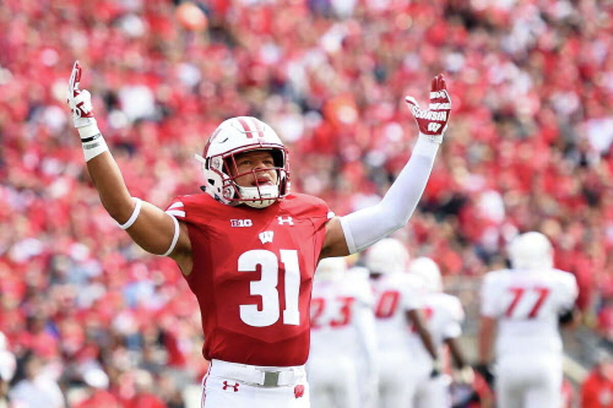 No. 24:Wisconsin Conference:Big Ten Revenue:$78 million Profit:$43 million Pictured:Madison Cone of the Wisconsin Badgers reacts to a stop against the New Mexico Lobos during the first half at Camp Randall Stadium on September 8, 2018 in Madison, Wisconsin.