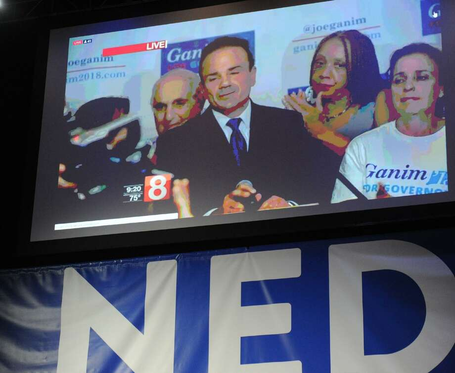 A televised image of former Bridgeport Mayor Joe Ganim could be seen during Ned Lamont's primary election night victory reception at the College Street Music Hall, New Haven Conn., Tuesday, Aug. 14, 2018. Photo: Bob Luckey Jr. / Hearst Connecticut Media / Greenwich Time