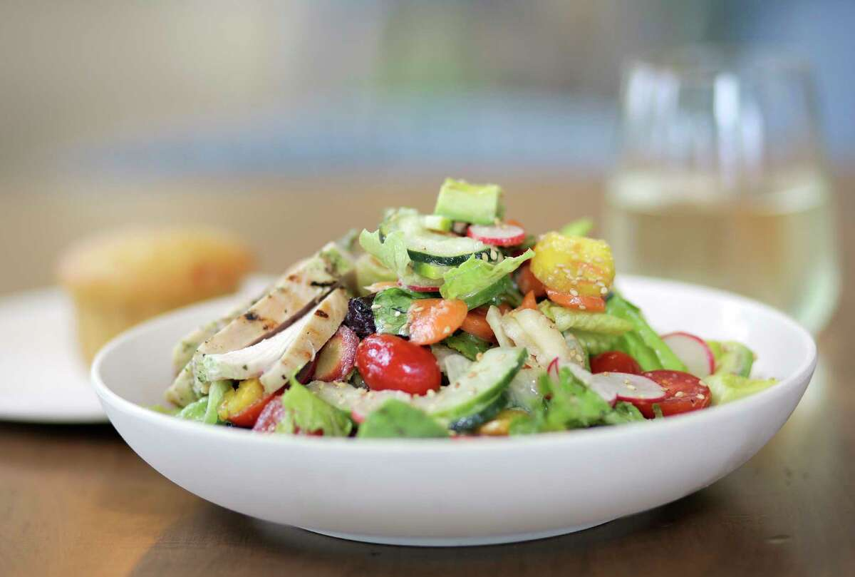 Chopped vegetable salad with chicken served at Flower Child, a new Uptown restaurant.