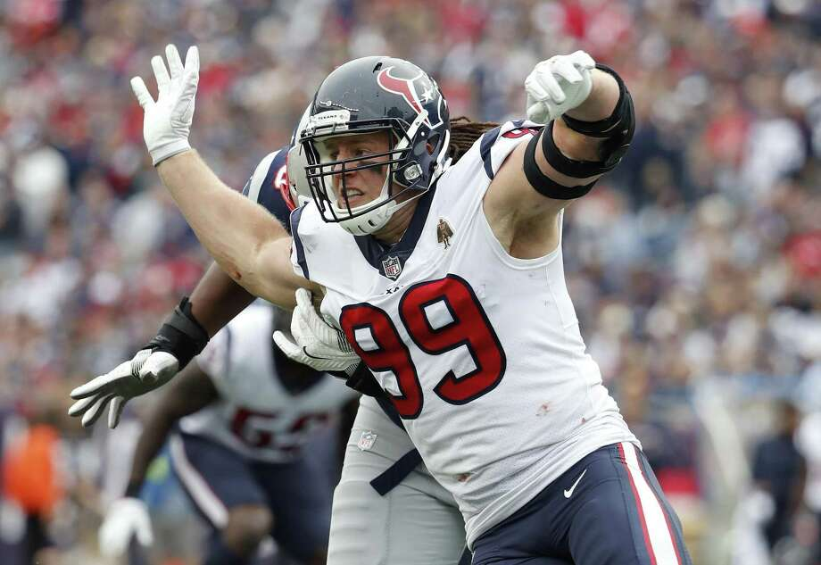 In this Sunday, Sept. 9, 2018, file photo, Houston Texans' J.J. Watt rushes during an NFL football game against the New England Patriots at Gillette Stadium in Foxborough, Mass. Watt got better as the day went on his first game since breaking his leg last October. After getting through that game, the three-time Defensive Player of the Year is looking to make more of an impact this week when the Texans visit Tennessee. Photo: Winslow Townson, FRE / Associated Press / Panini