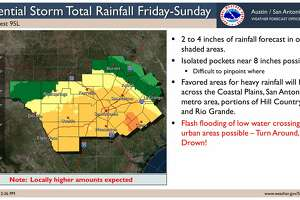 Forecasters are expecting up to four inches of rain across San Antonio through the weekend. Isolated spots may get up to 8 inches of rain.
