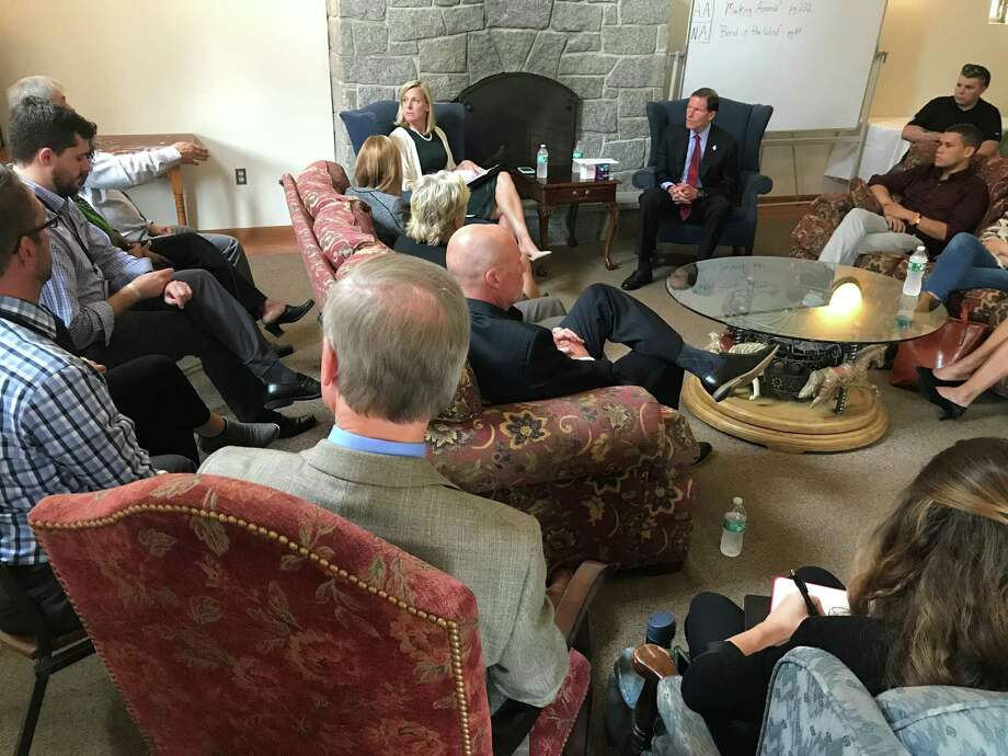 U.S. Sen. Richard Blumenthal, center right, at a meeting with addiction counselors and community leaders on Tuesday at the McCall Center for Behavioral Health in Torrington. Photo: Contributed / Courtney Chandler /