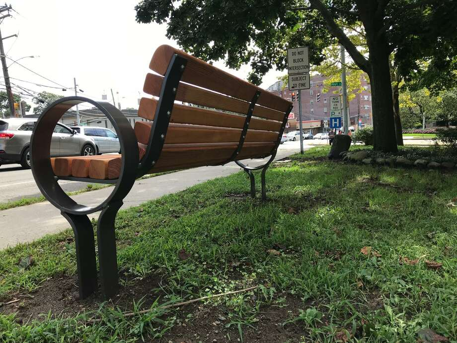 A bench just downhill on Strawberry Hill Avenue from where Karina Tinajero-Arreguin, 18, was struck and killed in front of Stamford High School on Nov. 5, 2016. The bench is dedicated to Tinajero-Arreguin's memory. Photo: John Nickerson / Staff