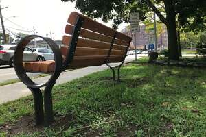 A bench just downhill on Strawberry Hill Avenue from where Karina Tinajero-Arreguin, 18, was struck and killed in front of Stamford High School on Nov. 5, 2016. The bench is dedicated to Tinajero-Arreguin's memory.