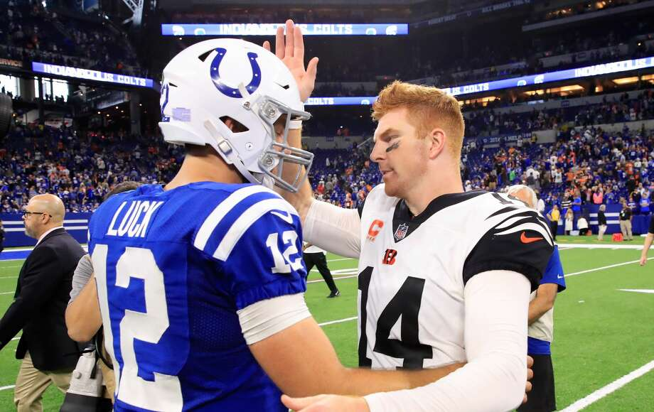 PHOTOS: All the current NFL players who went to high school in the Houston area Cincinnati Bengals quarterback Andy Dalton (right) and Indianapolis Colts quarterback Andrew Luck faced off in the NFL's opening week. Both players went to high school in the Houston area. Go through the photos above for a look at all the Houston-area players currently in the NFL ... Photo: Andy Lyons/Getty Images