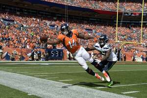 DENVER, CO - SEPTEMBER 9: Courtland Sutton (14) of the Denver Broncos fails to complete a catch during the second quarter against the Seattle Seahawks. The Denver Broncos hosted the Seattle Seahawks at Broncos Stadium at Mile High in Denver, Colorado on Sunday, September 9, 2018. (Photo by Andy Cross/The Denver Post via Getty Images)