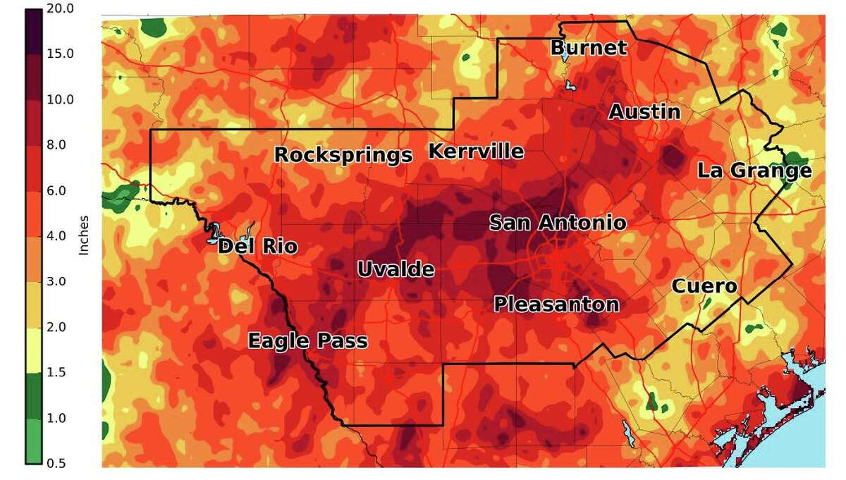 Pictured is the estimated rainfall from 7 a.m. Sept. 3 - 7 a.m. Sept. 13 The Alamo City is roughly four inches away from breaking the September rainfall record set in 1946, when 15.78 inches of rain were recorded at the airport.