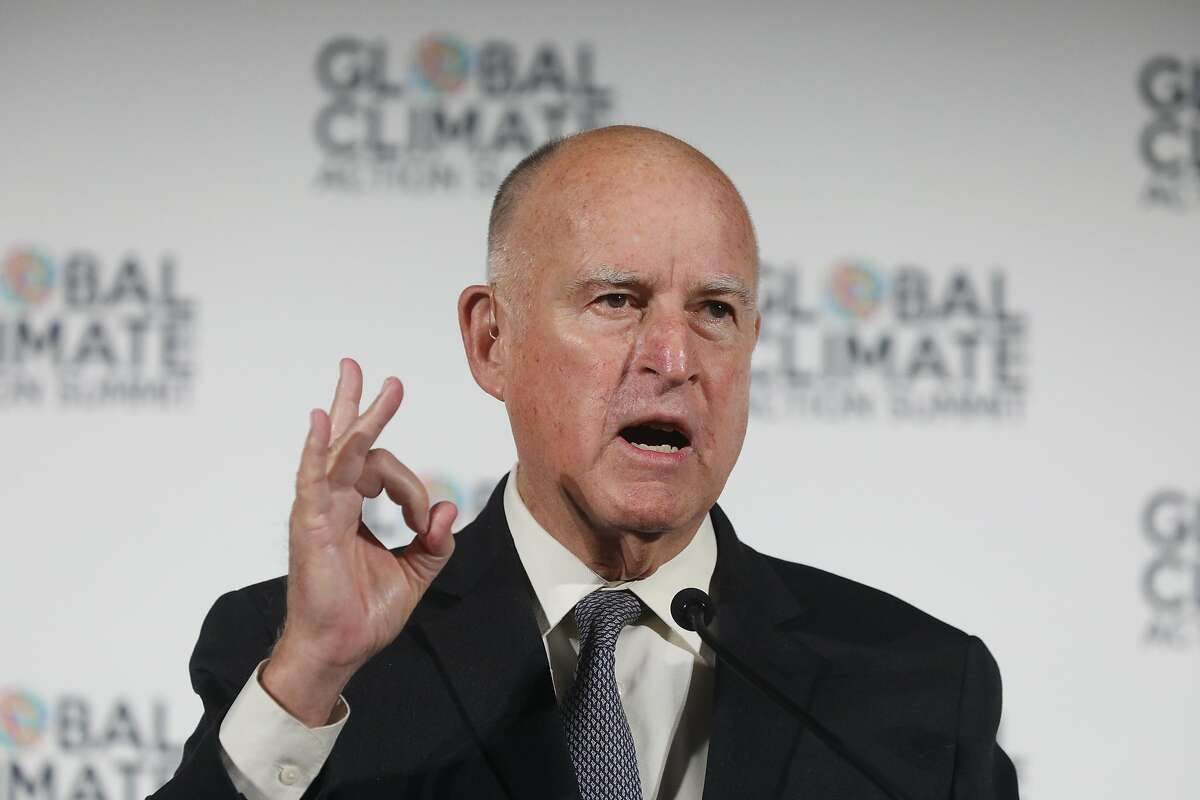 Governor Jerry Brown speaks at a news conference to talk about climate change, September 13, 2018 in San Francisco.