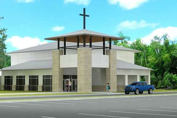 A preliminary rendering shows the exterior of a new sanctuary for which the Lake Houston United Methodist Church in Huffman has launched a capital campaign to replace the sanctuary lost to Hurricane Harvey's floodwaters.
