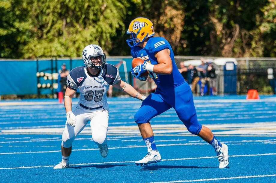 UNH tight end Jonathan Badyna is back on the field after missing nearly all of last season with a left foot injury. Photo: University Of New Haven Athletics