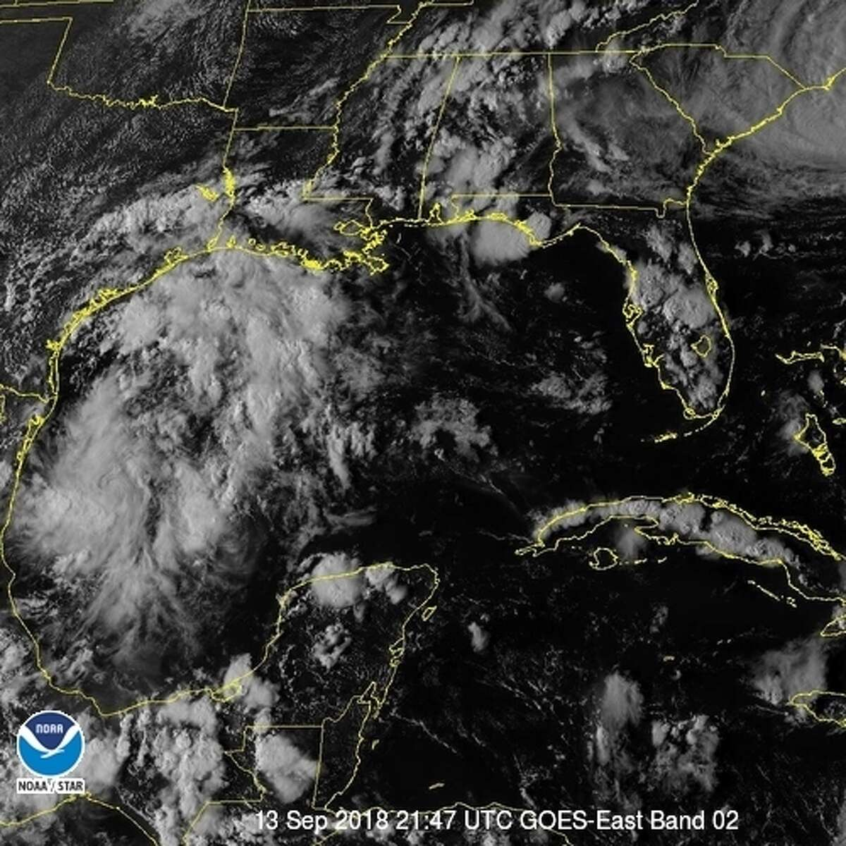 Satellite images of the system brewing in the Gulf of Mexico. Forecasters say it's likely to bring San Antonio more rain, making it the wettest on record.