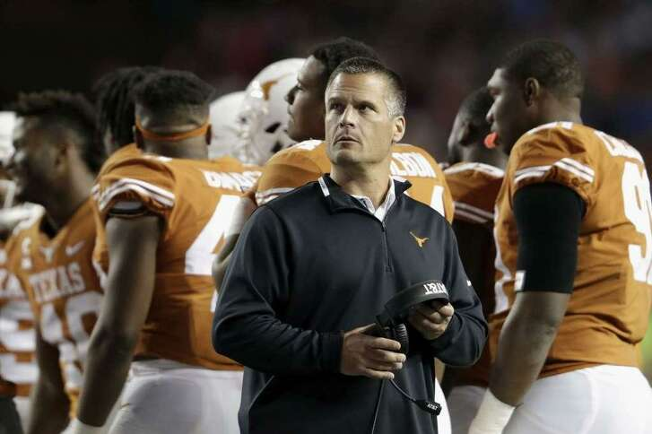 Texas defensive coordinator Todd Orlando looks toward the scoreboard during a timeout in the second half against Texas Tech at Darrell K Royal-Texas Memorial Stadium on November 24, 2017 in Austin. Orlando said this week he knows the run defense must improve if the Longhorns are going to make noise this season.