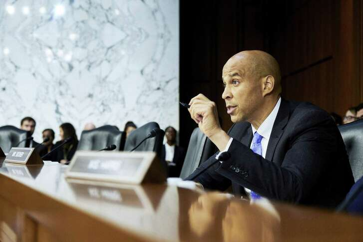 """Sen. Cory Booker questions Judge Brett Kavanaugh, President Donald Trumps nominee for the U.S. Supreme Court, during his confirmation hearing before the Senate Judiciary Committee on Sept. 5. Booker said his plan to divulge confidential documents may have been as close as possible to his own """"I am Spartacus"""" moment."""