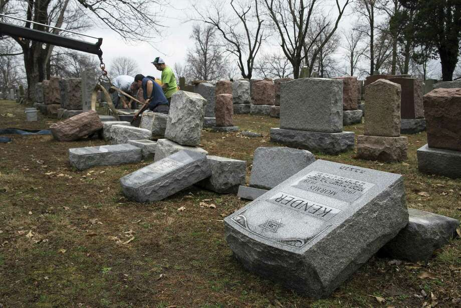 Toppled gravestones at Chesed Shel Emeth Cemetery, in University City, a suburb of St. Louis, Mo., Feb. 21, 2017. Nearly 200 grave markers were vandalized in the 124-year-old Jewish cemetery, leaving people wondering if might be another in a spat of anti-Semitic episodes that have occurred around the U.S. Photo: NICK SCHNELLE /NYT / NYTNS