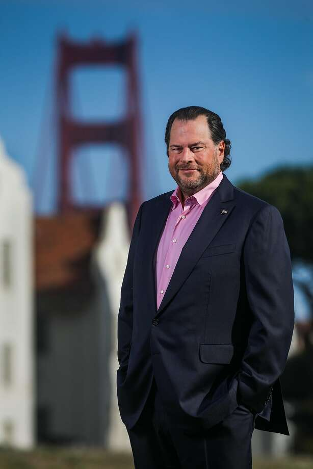 Salesforce chief Marc Benioff, shown in the Presidio, is optimistic about San Francisco's future. Photo: Gabrielle Lurie / The Chronicle