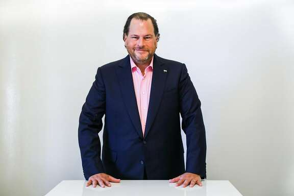 Salesforce CEO Marc Benioff stands for a portrait at the World Economic Forum Centre in San Francisco, California, on Thursday Sept. 13, 2018.