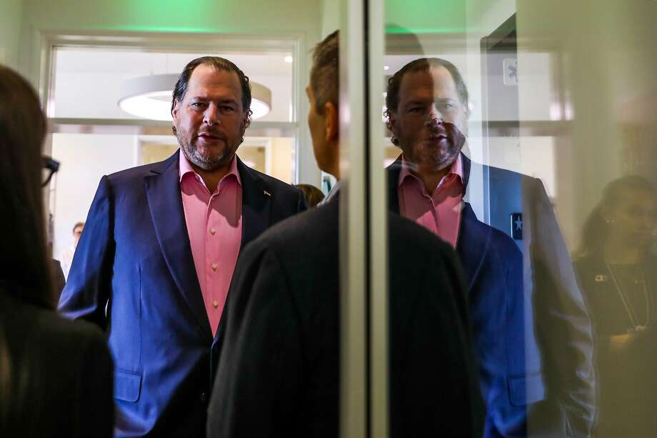 Salesforce chief Marc Benioff prepares to speak at the World Economic Forum Centre. Photo: Gabrielle Lurie / The Chronicle