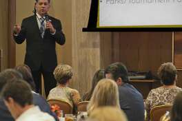 Mayor Jerry Morales speaks 09/13/18 at the Call to Action Meeting discussing city plans and what can be done for the future. Tim Fischer/Reporter-Telegram