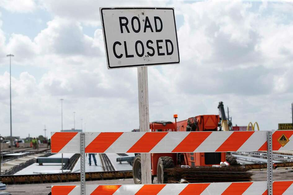 A sign warns of the construction area for U.S. 290 project near Fairbanks North Houston Road on June 28, 2018, in Houston.