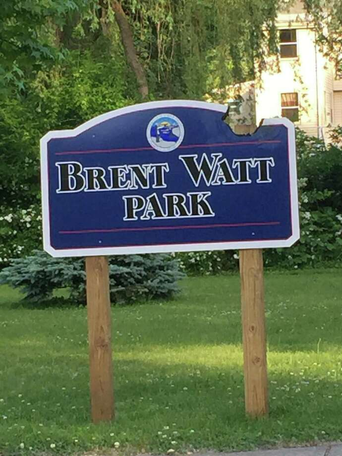 A fundraiser to raise money to repair vandalism damage at Brent Watt Park in West Haven's Allingtown section raised enough money to meet its goal in just three days. Pictured: the vandalized sign. Photo: Contributed / Robbin Watt Hamilton