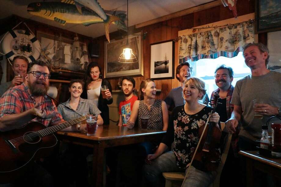 Fittingly, the entire cast enjoys a beer and continuing rehearsal in the Ivoryton Tavern. Photo: Courtesy Of Rachel Smith