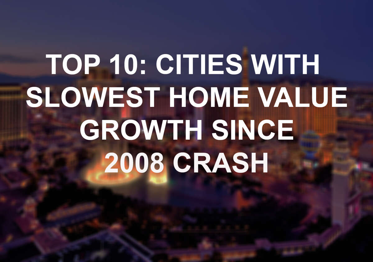 Click through to see the cities that are the slowest to recover their former values since the crash. While they've climbed out from low values, they're still far behind their once high peaks.