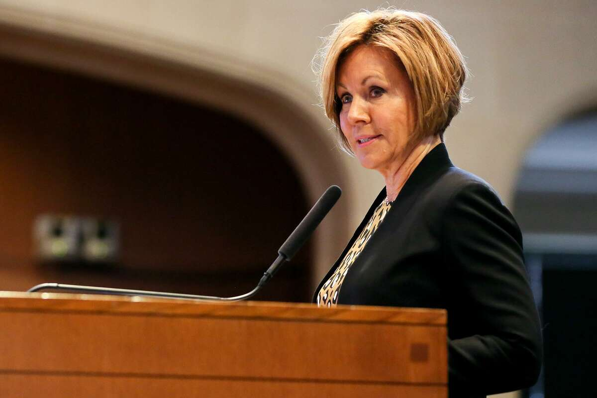 City manager Sheryl Sculley speaks before City Council adopts the city's fiscal year 2019 operating and capital budget in Council chambers on Thursday, Sept. 13, 2018. Sculley is retiring after 13 years as the city's CEO. The City Council will pay tribute to her Thursday, at her last council meeting.