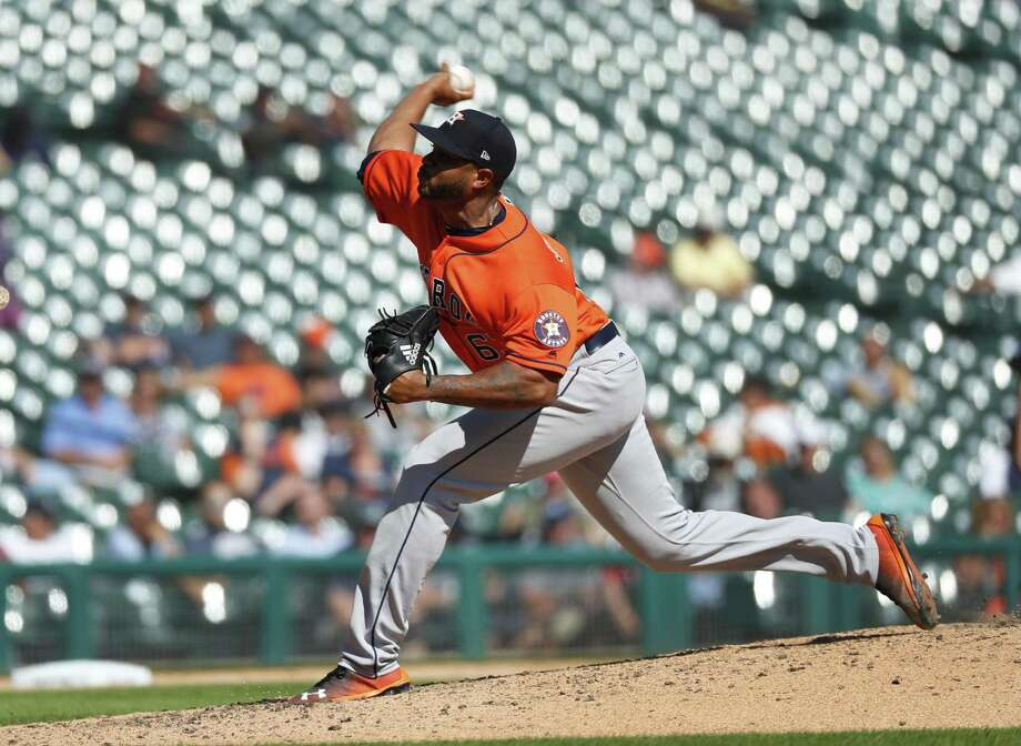 Josh James, who can bring 100 mph heat and pitch multiple innings, had two effective relief outings during the Astros' six-game road trip and is presenting them with a tantalizing bullpen option for the postseason. Photo: Paul Sancya, STF / Associated Press / Copyright 2018 The Associated Press. All rights reserved