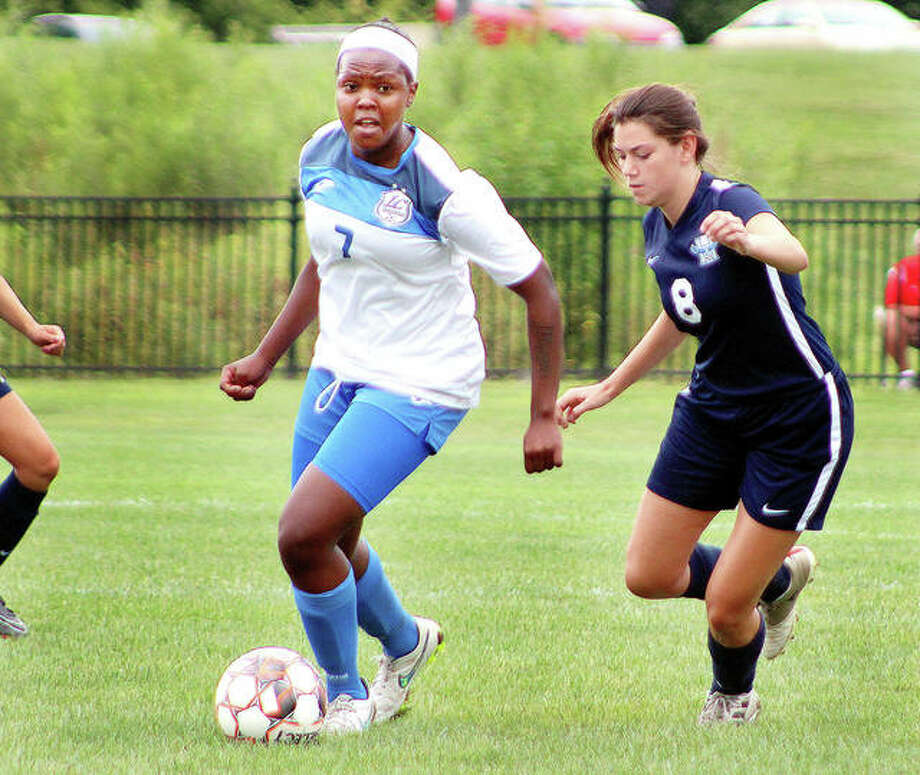 LCCC's Boitumelo Rabale (7) scored the game-winning goal and had an assist on the Trailblazers' other goal in Thursday's 2-1 Region 24 victory over Parkland College in Champaign. She is shown in action earlier this season against Heartland College. Photo: Pete Hayes | The Telegraph