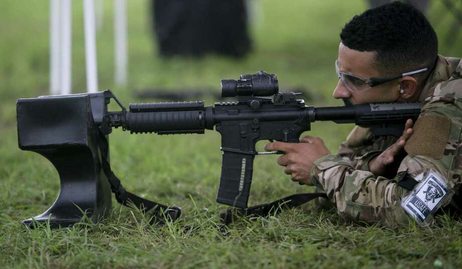 Jomalier Viera-Martinez takes aim at a target during the combat endurance competition at Camp Bullis, in this 2018 file photo. CLICK THROUGH THE GALLERY FOR IMAGES OF TRAINING AT CAMP BULLIS THROUGH THE YEARS. Photo: Josie Norris, Staff / San Antonio Express-News / © San Antonio Express-News