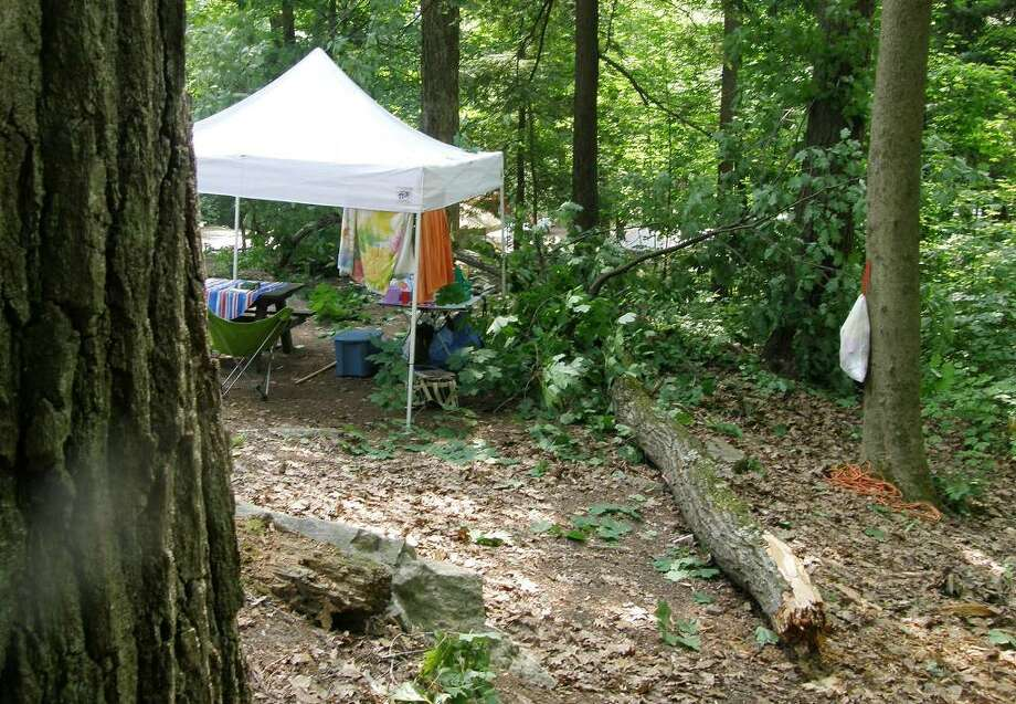 Scene of the campsite at Hearthstone Point Campground in Lake George where a huge oak tree came down in the camp around 2 a.m. Friday, and would have killed a family if they didn?t move their tent after a branch had fallen earlier, said Hessinger of Chester, Orange County. (Courtesy / Anna-Marie Hessinger)