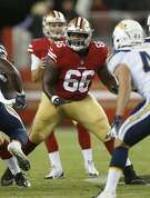San Francisco 49ers' Najee Toran against the Los Angeles Chargers during an NFL preseason football game in Santa Clara, Calif., Thursday, Aug. 30, 2018. (AP Photo/Josie Lepe)