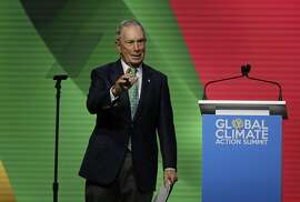 Michael Bloomberg waves after speaking during the Global Action Climate Summit Thursday, Sept. 13, 2018, in San Francisco. (AP Photo/Eric Risberg)