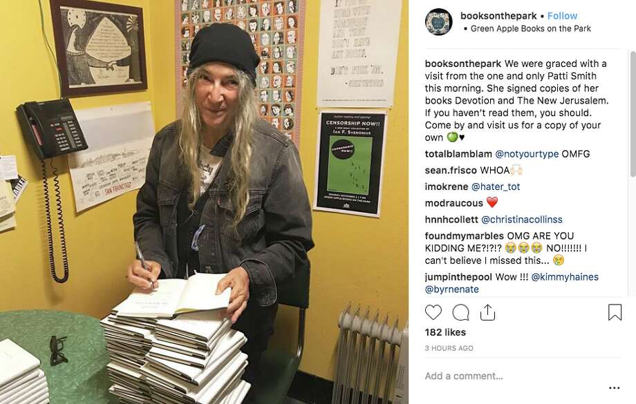 Patti Smith stopped by Green Apple Books on the Park on Thursday, Sept. 13, 2018. Photo: Green Apple Instagram