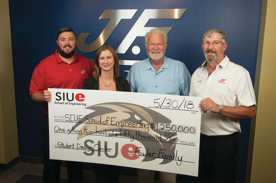 The Fowler Family has presented the SIUE School of Engineering with $1.25 million for the completion of the Fowler Student Design Center. (L-R) Jonathan, Mandy, Jim and Greg Fowler.