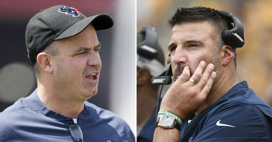 PHOTOS: John McClain's picks From left are 2018 file photos showing Houston Texans head coach Bill O'Brien and Tennessee Titans head coach Mike Vrabel. Vrabel spent the past four seasons working as an assistant to Houston coach O'Brien, including as defensive coordinator in 2017. Now the men square off Sunday, Sept. 16, in the first of two games as rivals now that Vrabel is a rookie head coach with the Titans. (AP Photo/File) Browse through the photos to see John McClain's predictions for Week 2 of NFL action. Photo: Associated Press