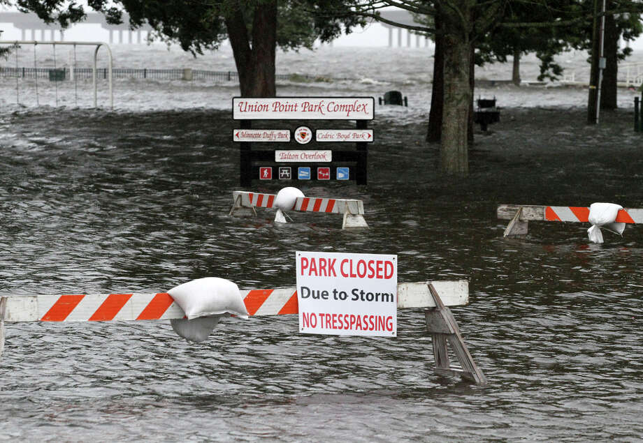 Union Point Park is flooded with rising water from the Neuse and Trent Rivers in New Bern, N.C. Thursday, Sept. 13, 2018. Hurricane Florence already has inundated coastal streets with ocean water and left tens of thousands without power, and more is to come.  (Gray Whitley/Sun Journal via AP) Photo: Gray Whitley, AP / © Gray Whitley / Sun Journal Gatehouse Media / ENC Media