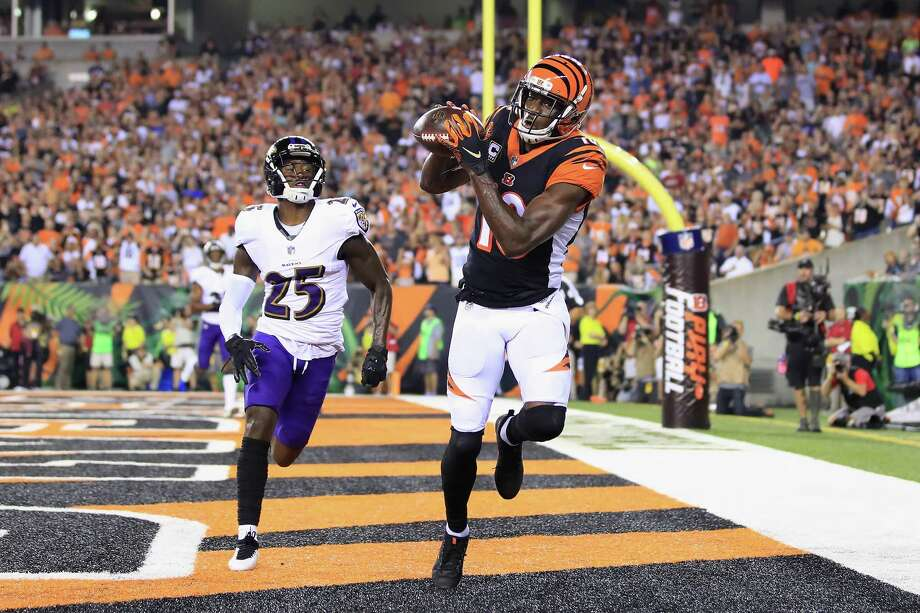 CINCINNATI, OH - SEPTEMBER 13:  A.J. Green #18 of the Cincinnati Bengals scores a touchdown against Tavon Young #25 of the Baltimore Ravens during the first quarter at Paul Brown Stadium on September 13, 2018 in Cincinnati, Ohio.  (Photo by Andy Lyons/Getty Images) Photo: Andy Lyons / 2018 Getty Images