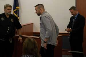 Former Troy City code enforcement officer James Lance leaves the courtroom after his hand cuff were removed after his arraignment in City Court Thursday Sept. 13, 2018 in Troy, N.Y.  (Skip Dickstein/Times Union)