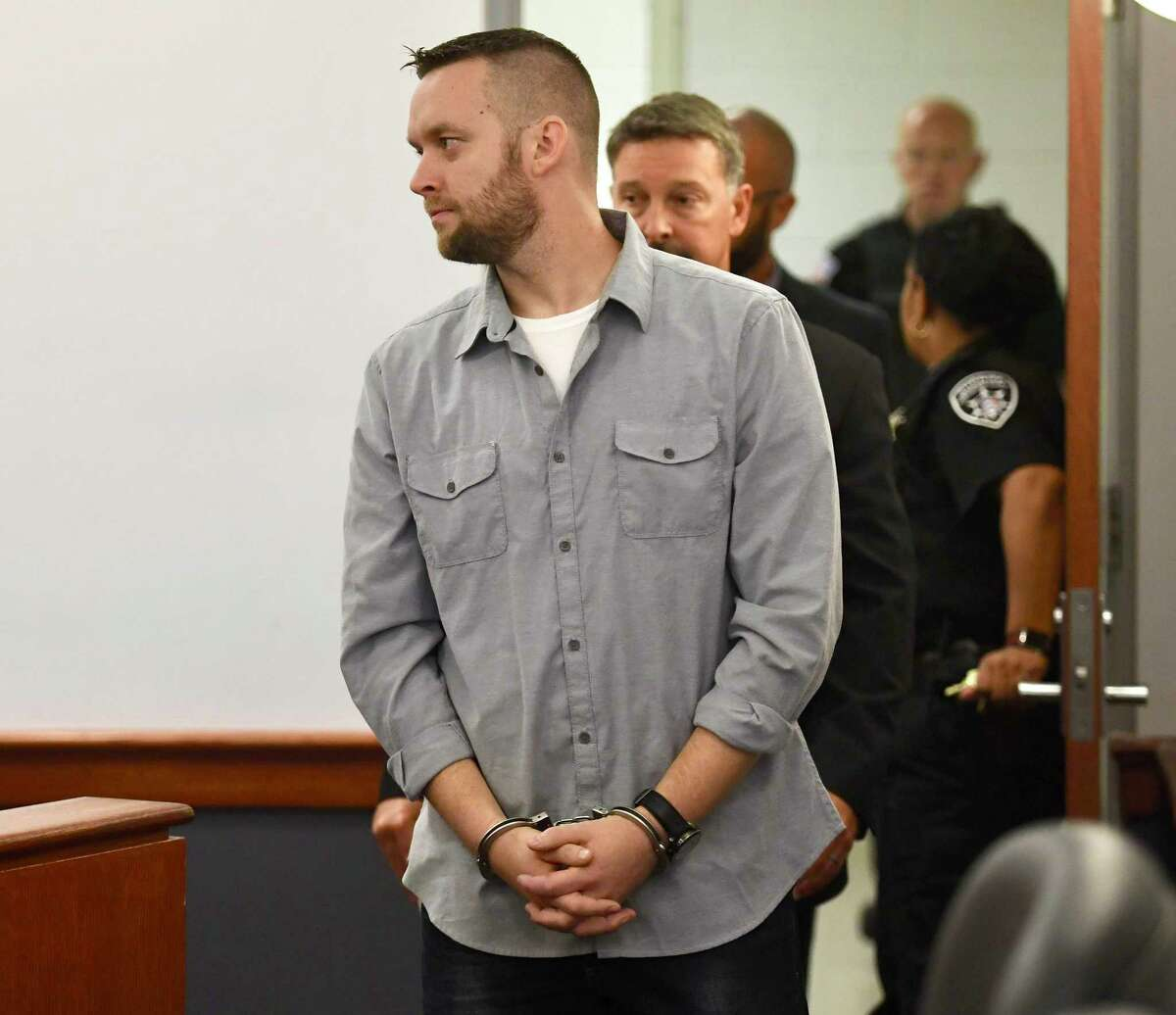 Troy code enforcement officer James Lance is arraigned in Troy City Court on Thursday morning, Sept. 13, 2018, in Troy, N.Y. Two men are facing charges in connection with a state investigation of the sale of tax-delinquent properties to Troy employees, city officials confirmed Thursday. (Skip Dickstein/Times Union)