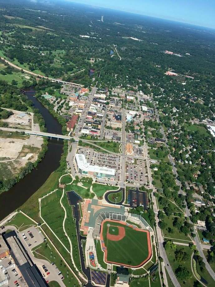 Thisaerial photo of Dow Diamond, the Tittabawassee River, downtown Midland and beyond was taken on Tuesday, Sept 11, 2018 by local pilot Dot Hornsby. (Photo provided/Dot Hornsby)