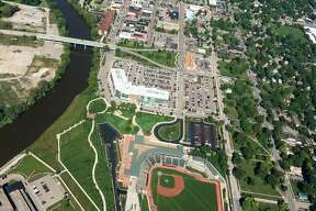 This aerial photo of Dow Diamond, the Tittabawassee River, downtown Midland and beyond was taken on Tuesday, Sept 11, 2018 by local pilot Dot Hornsby. (Photo provided/Dot Hornsby)