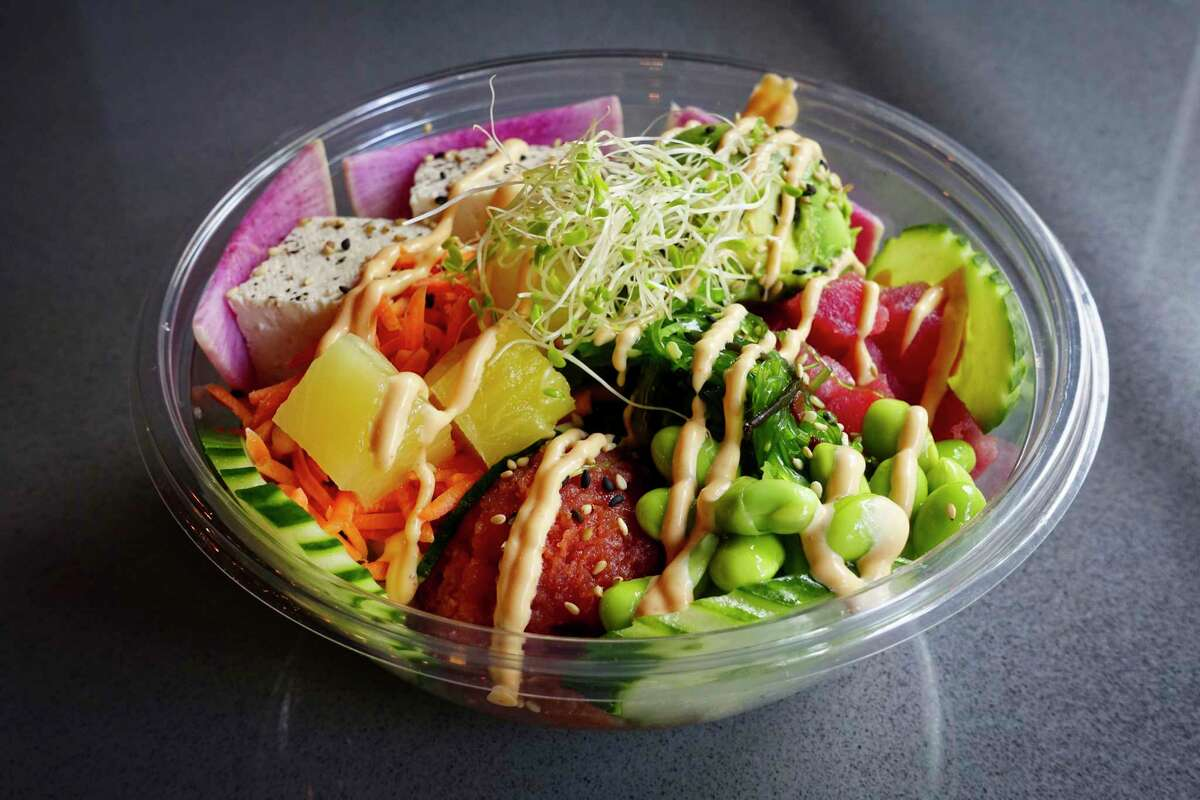 A view of a create your own bowl at Lark St. Poke Bar on Thursday, Sept. 6, 2018, in Albany, N.Y. (Paul Buckowski/Times Union)