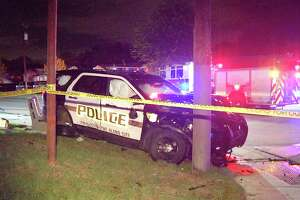The driver, who hasn't been identified, was traveling southbound on Tupper Avenue at a high rate of speed at about 11:15 p.m. when he hit the officer's patrol car.