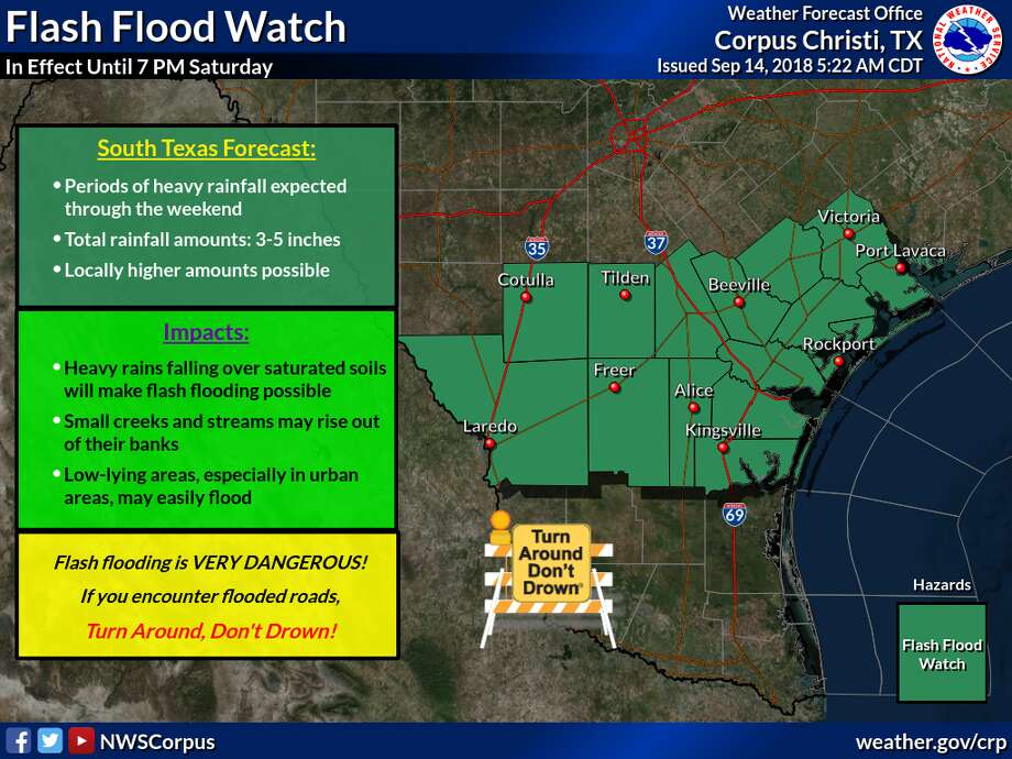 Meteorologists said that rainfall amounts of 3-5 inches is predicted in South Texas through the weekend. Photo: National Weather Service